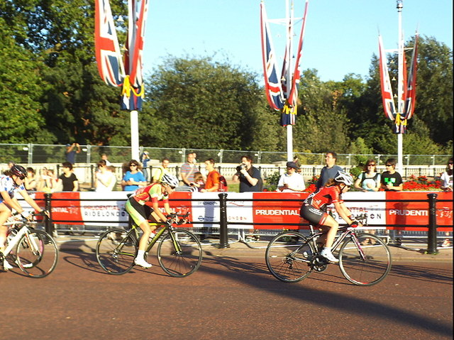 Racing cyclists on The Mall