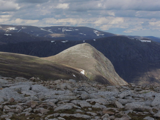 Afternoon sunlight catches The Devil's Point as seen from Monadh Mor (North Top)