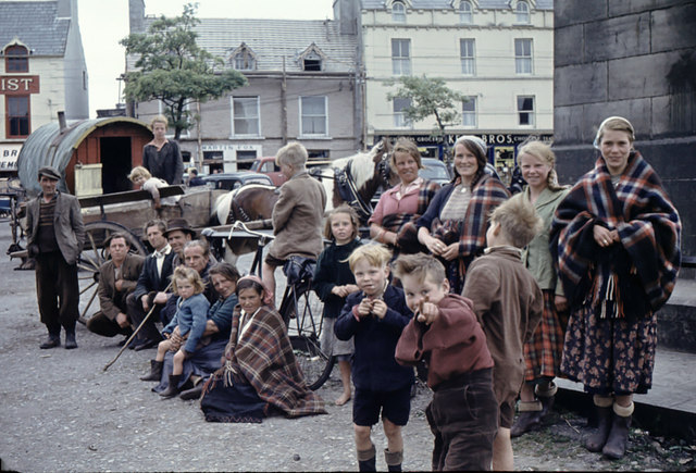 Gypsies near the Four Masters Monument, Donegal Town