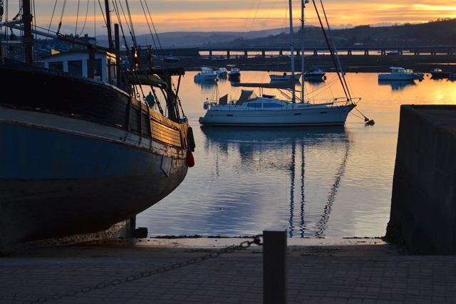Boats at low tide, Teignmouth harbour, sunset