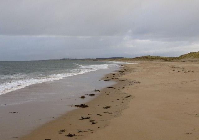 Looking south along the coast at Druridge Bay
