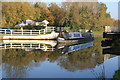SO7408 : A narrowboat cruises through Fretherne Bridge by Chris Allen