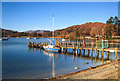 NY3703 : Boat and jetty, Waterhead by Chris Denny