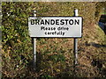 TM2360 : Brandeston Village Name sign on Brandeston Road by Adrian Cable