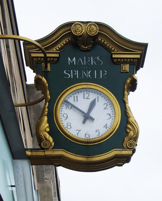Marks & Spencer branded clock, Wood Green