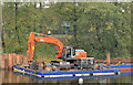 J3371 : Crane and pontoon, River Lagan, Belfast by Albert Bridge