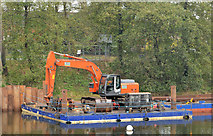 J3371 : Crane and pontoon, River Lagan, Belfast by Albert Bridge