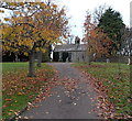 ST8080 : Autumn leaves on the path to St. Mary's church, Acton Turville by Jaggery