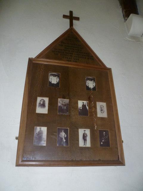 Shottenden War Memorial in St Mary's Church, Chilham