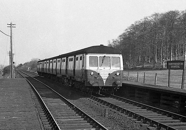 Belfast bound train at Crawfordsburn - March 1975