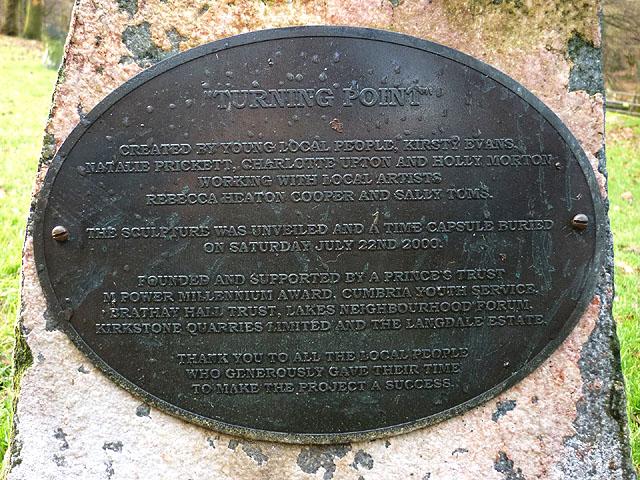 'Turning Point' dedication plaque, Rothay Park