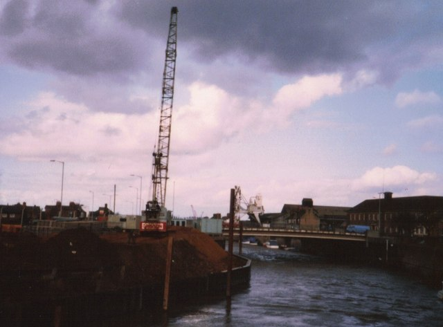 Crane on the bank of The River Nene, Wisbech - 1985