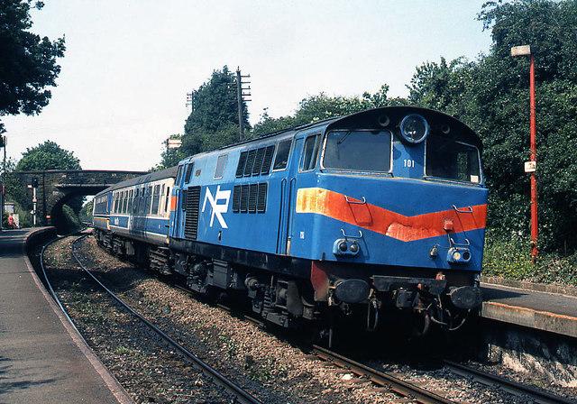 Locomotive 101 at Bangor West - 1990 (2)