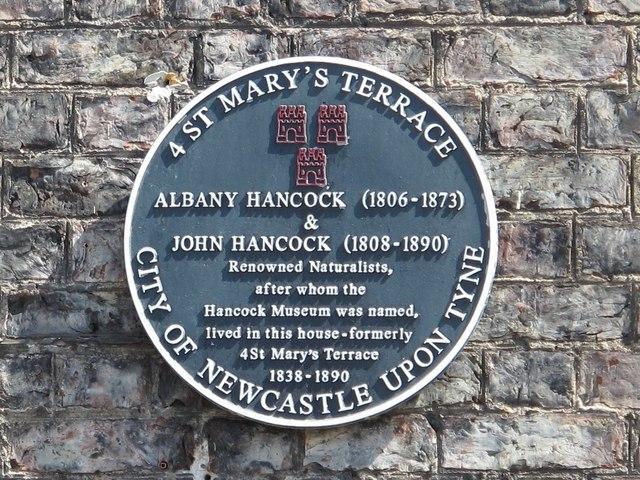 Blue plaque re Albany & John Hancock, St. Mary's Terrace, NE1