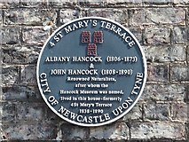 NZ2465 : Blue plaque re Albany & John Hancock, St. Mary's Terrace, NE1 by Mike Quinn