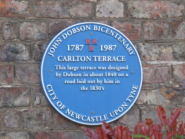 Blue plaque re John Dobson, Carlton Terrace, Jesmond Road West, NE2