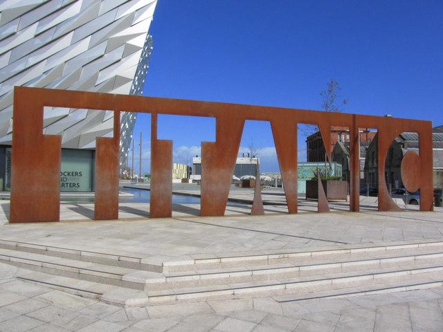 'Titanic' name in steel, Titanic Museum, Belfast