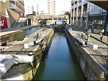 TQ3681 : Limehouse, canal lock by Mike Faherty