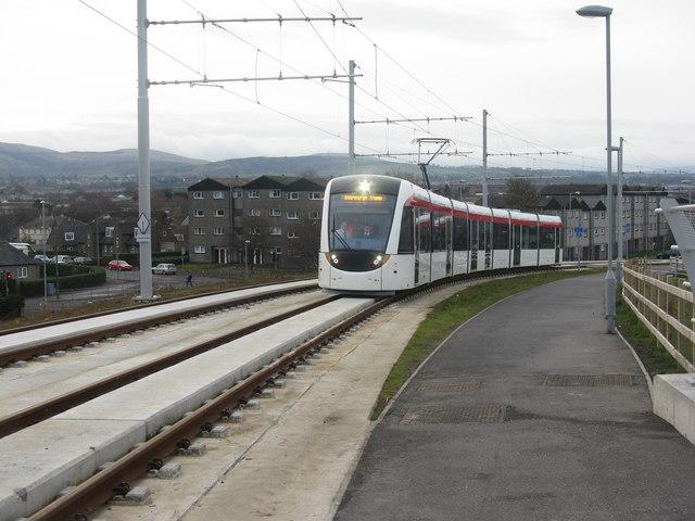 Tram heading into Edinburgh