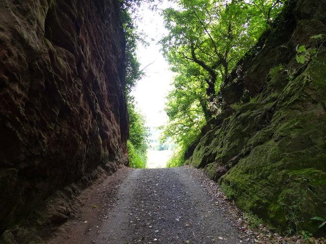 Severn Way Footpath cutting through Blackstone Rock