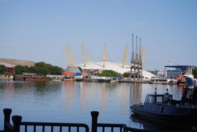 O2 Arena seen along South Dock