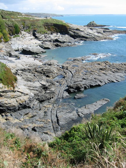 Prussia Cove cut out harbour and tracks