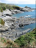 SW5527 : Prussia Cove cut out harbour and tracks by Rob Weststrate