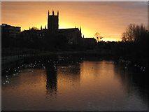SO8454 : Sunrise behind Worcester Cathedral by Philip Halling