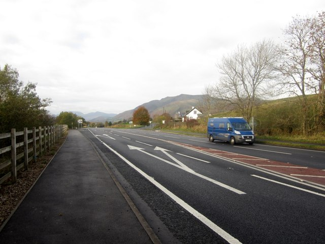 Looking west along the A66 at Troutbeck