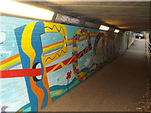 TM3877 : Murals & path to the Town by Geographer