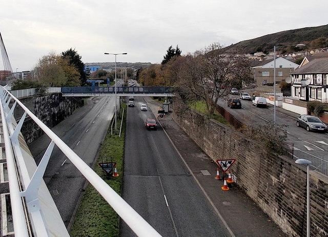 From footbridge to footbridge, Fabian Way, Swansea