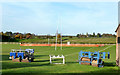 SU9181 : Rugby Posts and Rollers by Des Blenkinsopp