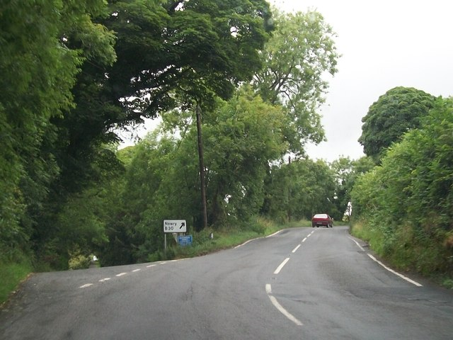 The B30 (Newry Road) at the junction with Drumalt Road