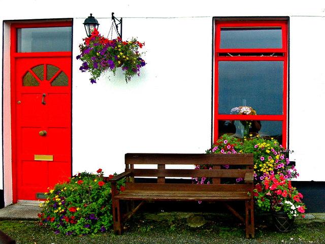 Ballyvaghan B&B - White Wall, Red Door & Window, Bench & Flowers