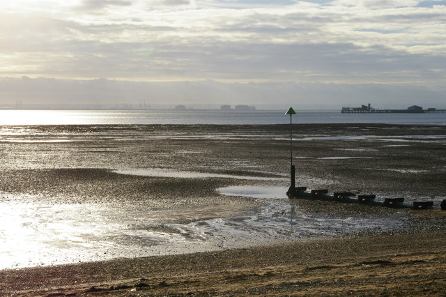 Southend-on-Sea: looking across the Thames estuary from Eastern Esplanade