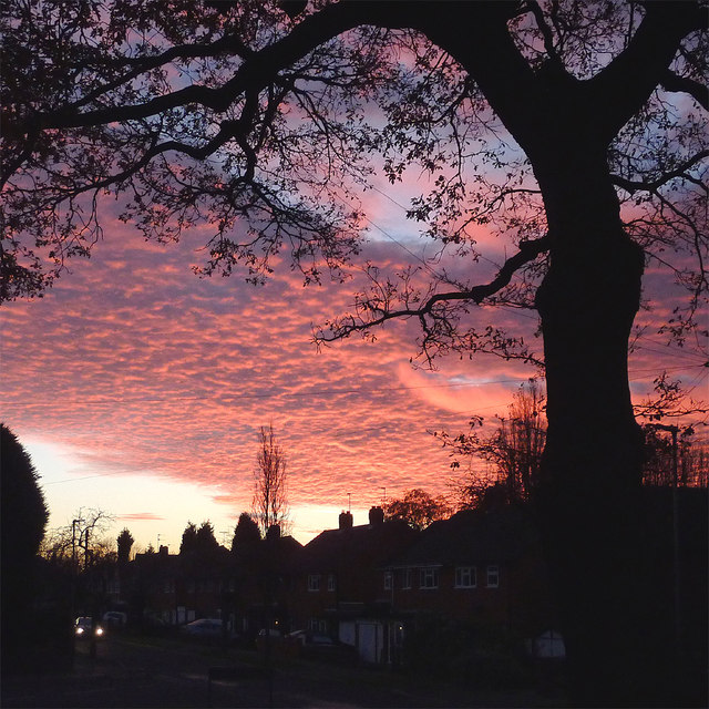 Sunset over Buckingham Road in Penn, Wolverhampton