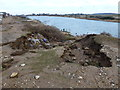 TF6432 : Storm damage to the lake edge, Snettisham by Richard Humphrey