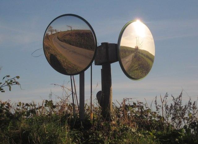Dual traffic mirrors, South Bake