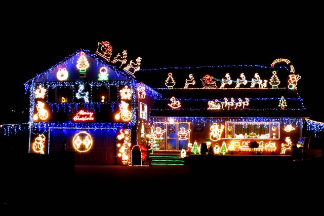 Christmas lights on a house in New Street