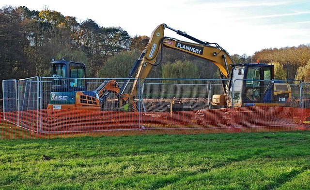 Bulldozers at the Sports Field, Spennells, Kidderminster