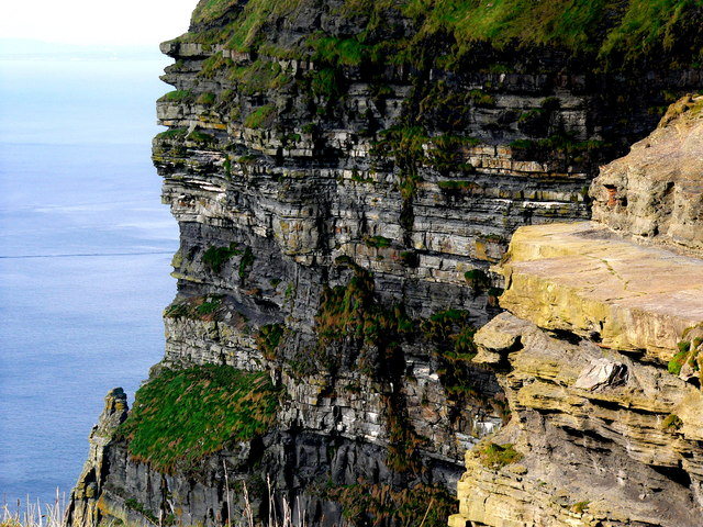 Cliffs of Moher - Close-Up View of Face of Cliffs below O'Brien's Tower