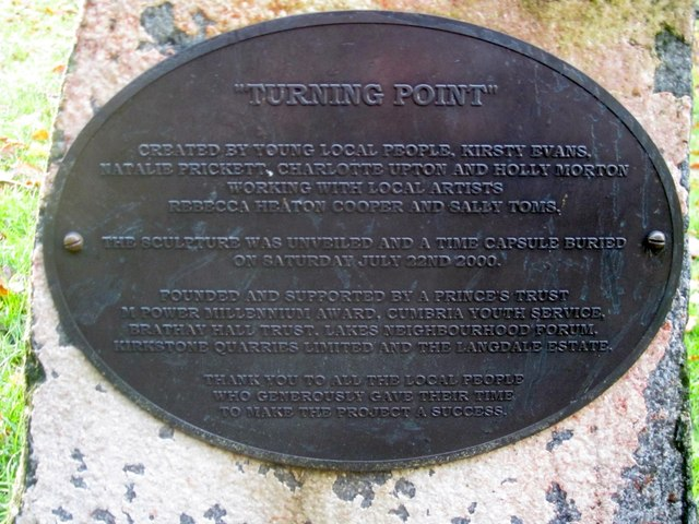 Turning Point sculpture plaque, Rothay Park, Ambleside