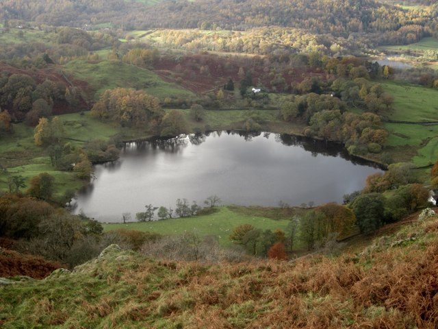 Loughrigg Tarn from the upper slopes of Loughrigg Fell