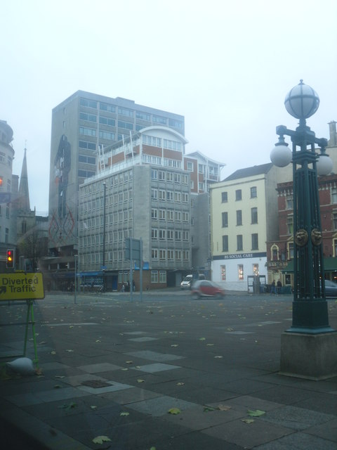 Square in Bristol beside war memorial