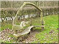 NY5563 : Sculptural bench by the old bridge at Lanercost by Oliver Dixon
