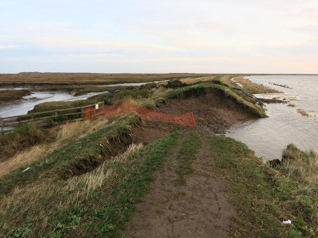 Burnham Norton sea wall breached
