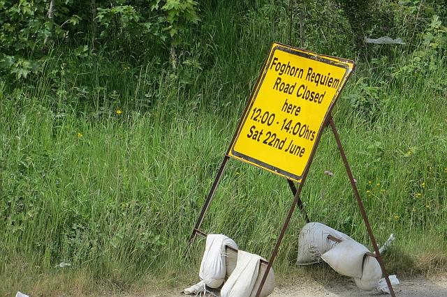 Road closure sign: Foghorn Requiem