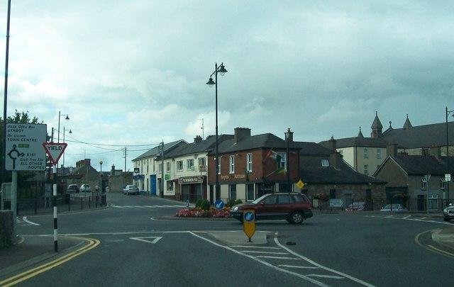 Traffic island at the junction of Railway Street and Circular Road, Navan