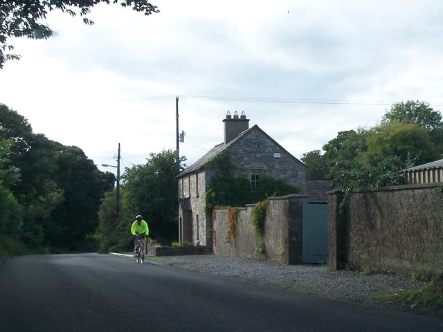 A cyclist on the L4010 east of Bective Abbey