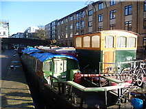 TQ3283 : Canal boats near City Road Basin by Marathon